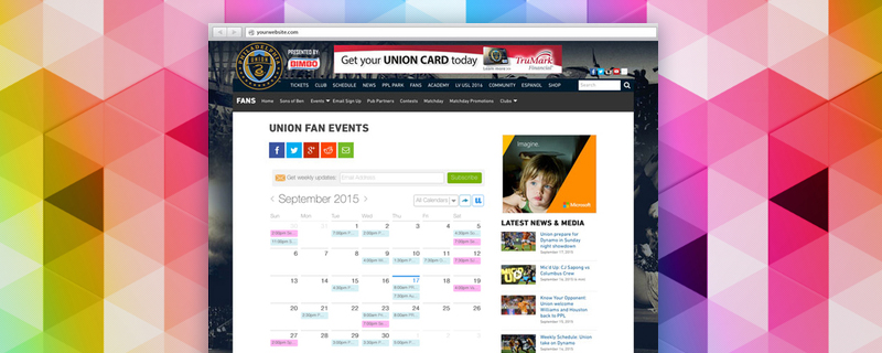 UpTo Website Calendar
